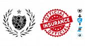 Mosaic Official Insurance Shield Icon And Rubber Stamp Seal With Official Insurance Text. Mosaic Vec poster