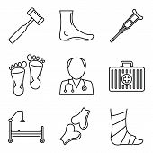 Podiatrist Care Icons Set. Outline Set Of Podiatrist Care Vector Icons For Web Design Isolated On Wh poster