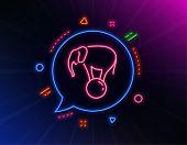 Elephant On Ball Line Icon. Neon Laser Lights. Circus Sign. Amusement Park Show. Glow Laser Speech B poster