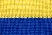 Knit Close-up. Colored Knitted Wool Close-up. Yellow-blue Flag Of Ukraine poster