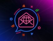 Web Mail Line Icon. Neon Laser Lights. Message Correspondence Sign. E-mail Symbol. Glow Laser Speech poster