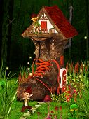 picture of midget  - Dwarfs and fancy boot house in dreamyland - JPG