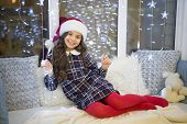 Simply Blessed. Happy Girl Celebrate Xmas And New Year. Little Girl With Xmas Look. Small Girl On Ch poster