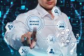 Business, Technology, Internet And Network Concept. Marketing Content. Businessman Presses A Button poster