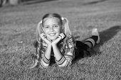 Living Happy Life. Have Fun. Girl Kid Laying Green Grass. Healthy Emotional Happy Kid Relaxing Outdo poster