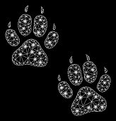 Bright Mesh Tiger Footprints With Glow Effect. Abstract Illuminated Model Of Tiger Footprints Icon.  poster