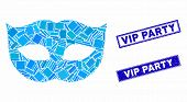 Mosaic Privacy Mask Pictogram And Rectangle Vip Party Seal Stamps. Flat Vector Privacy Mask Mosaic P poster