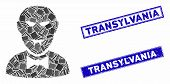 Mosaic Vampire Icon And Rectangular Transylvania Watermarks. Flat Vector Vampire Mosaic Icon Of Rand poster