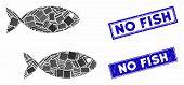 Mosaic Fish Pair Icon And Rectangular No Fish Watermarks. Flat Vector Fish Pair Mosaic Icon Of Rando poster