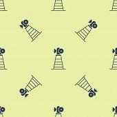 Blue Antenna Icon Isolated Seamless Pattern On Yellow Background. Radio Antenna Wireless. Technology poster
