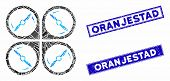 Mosaic Quadcopter Screws Rotation Icon And Rectangle Oranjestad Rubber Prints. Flat Vector Quadcopte poster