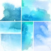 stock photo of paint brush  - Set of watercolor abstract hand painted backgrounds - JPG
