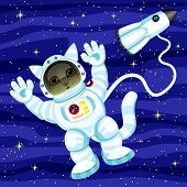Cat Astronaut In Outer Space And Space Rocket. poster