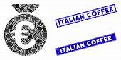 Mosaic Euro Money Bag Pictogram And Rectangular Italian Coffee Stamps. Flat Vector Euro Money Bag Mo poster