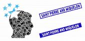 Mosaic Stars Hit Head Pictogram And Rectangle Saint Pierre And Miquelon Seal Stamps. Flat Vector Sta poster
