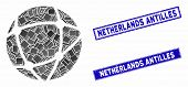 Mosaic Network Pictogram And Rectangular Netherlands Antilles Stamps. Flat Vector Network Mosaic Pic poster