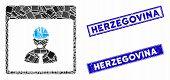 Mosaic Engineer Calendar Day Pictogram And Rectangular Herzegovina Seal Stamps. Flat Vector Engineer poster