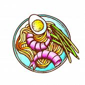 Noodles With Shrimp Egg And Green Onion Ink Vector. Delicious Asian Meal With Shrimp On Plate. Thai  poster