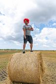Strong Young Man In Red Wig Stands On The Round Haystack Among The Field And Shows His Triceps poster