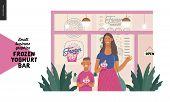 Frozen Yoghurt Bar - Small Business Graphics - Customers -modern Flat Vector Concept Illustrations - poster