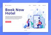 Hotel Booking Website. Mobile App For Tourists And Travellers, Hotel Room Reservation Digital Servic poster