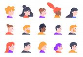 Profile People Portraits. Face Male And Female Profiles Avatars, Young People Characters Heads Profi poster