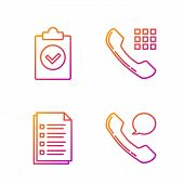 Set Line Telephone Handset And Speech Bubble Chat, File Document, Completed Task And Telephone Hands poster