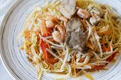Singapore Noodles, Favorite Asian Street Food, Stir Fried Rice Vermicelli Noodles With Pork And Shri poster
