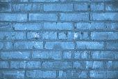Beautiful Brick Wall Grunge Decorative Classic Blue Background. Classic Blue Colour Monochrome Textu poster