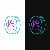 Green And Purple Line Paw Print Icon Isolated On White And Black Background. Dog Or Cat Paw Print. A poster