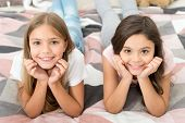 Free Your Smile. Little Girls Smile Relaxing On Bed. Happy Children Smiling. Dental Care. Dentistry  poster