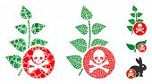 Herbicide Toxin Icon Composition Of Unequal Items In Variable Sizes And Color Tones, Based On Herbic poster