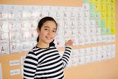 Beautiful schoolgirl showin periodic table of elements poster