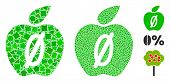 Zero Calories Apple Icon Mosaic Of Joggly Parts In Various Sizes And Color Tinges, Based On Zero Cal poster