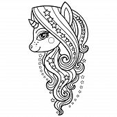 Unicorn With A Long Mane And Stars. Black And White. Fantasy Animal. For The Design Of Prints, Poste poster