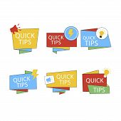 Quick Tips Mega Set, Helpful Tricks Vector Logos, Emblems And Banners Vector Set Isolated. Helpful I poster