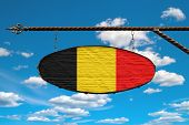 Belgium Flag On Signboard. Oval Signboard Colors Flag Belgium Hangs On A Metal Forged Structure. Tem poster