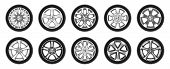 Set Of Isolated Rubber Tyre Or Car Tire, Truck Wheel With Metal Star Rim, Lorry Disk Icon Or Bus Whe poster