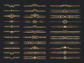 Golden Art Deco Dividers. Vintage Gold Ornaments, Decorative Divider And 1920s Header Ornament. Vict poster