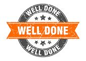 Well Done Round Stamp With Orange Ribbon. Well Done poster
