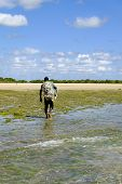 African Fisherman Leaving The Beach With His Fishing Net poster