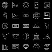 Forex Line Icons On Black Background, Stock Vector poster