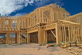 picture of 2x4  - Outside view of a two story house construction - JPG