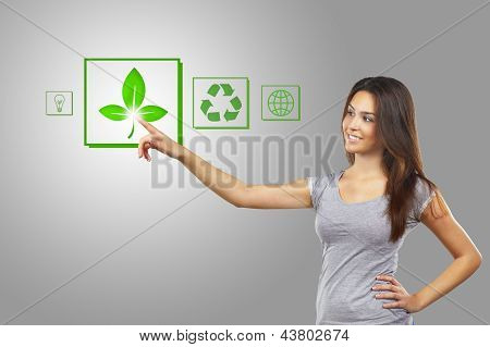 Young Businesswoman Pointing Recycle Symbol Over White Background