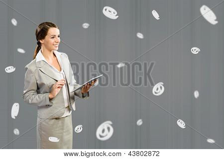 attractive business woman holding a table