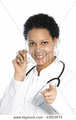 Female Doctor Pointing Towards The Camera