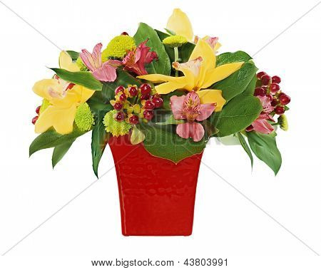 Colorful Flower Bouquet From Orchids And Lilies Arrangement Centerpiece In Red Vase Isolated On Whit