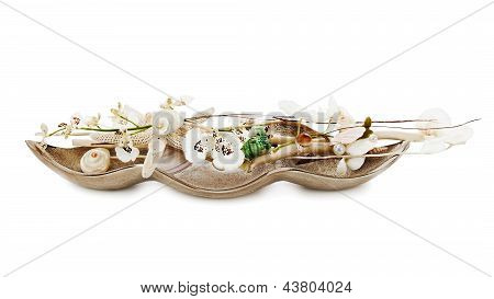 Composition From Pearls, Coral And Orchids Isolated On White Background.