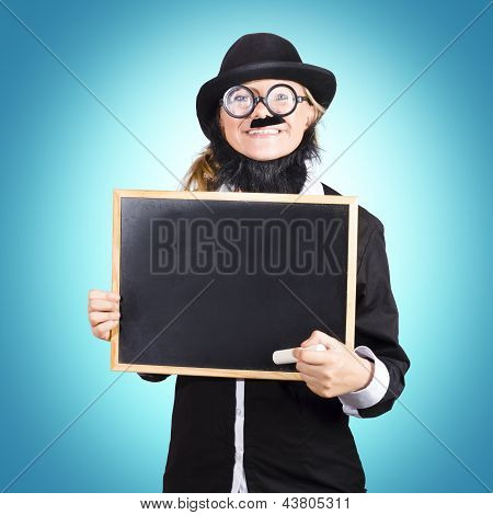 Funny Science Teacher Holding Blank Chalkboard