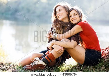 Two Girlfriends Outdoor